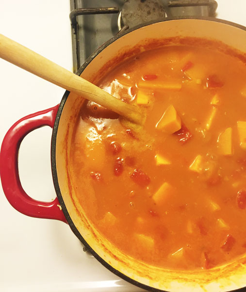Turmeric is an ingredient in a buttnernut, sweet potato and red lentil stew